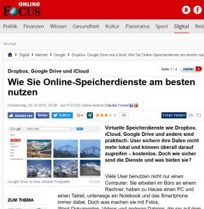 """""""Wie Sie Online-Speicherdienste am besten nutzen"""", Focus Online"""